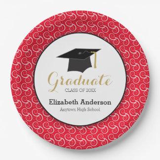 Remolino blanco en la graduación roja, platos de papel