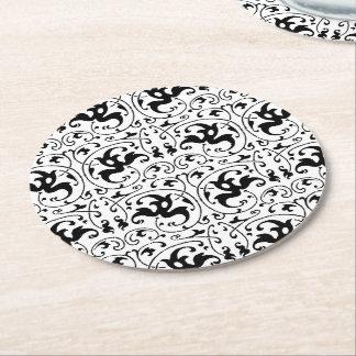 Remolino blanco negro del vintage posavasos de cartón redondo