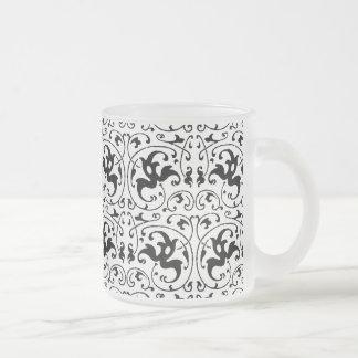 Remolino blanco negro del vintage taza de cristal