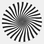 Remolino blanco y negro etiquetas redondas