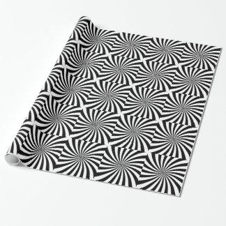 Remolino blanco y negro móvil de la ilusión óptica papel de regalo