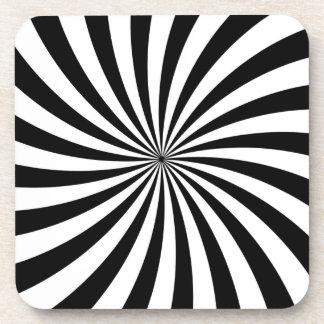 Remolino blanco y negro móvil de la ilusión óptica posavasos de bebida