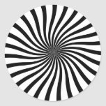 Remolino blanco y negro pegatina redonda