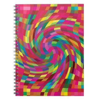 Remolino brillante de los colores del diseño abstr cuadernos