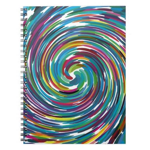 Remolino brillante de los colores del diseño abstr libros de apuntes