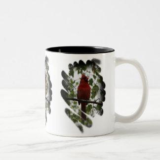 Remolino cardinal taza de café de dos colores