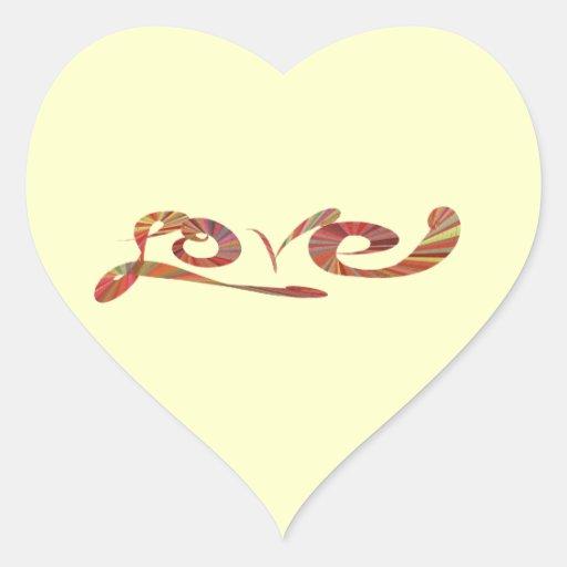 remolino colorido de los modelos de la tipografía pegatina en forma de corazón
