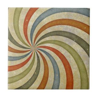 Remolino colorido del art déco de la diversión azulejo cuadrado pequeño