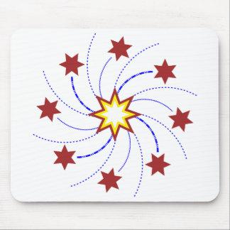 Remolino de la estrella de los fuegos artificiales tapete de ratón