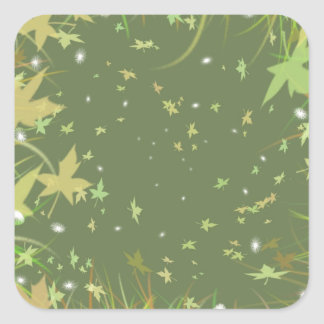 Remolino de la fantasía de las hojas del verde calcomanía cuadradase
