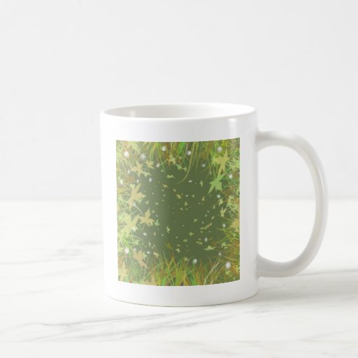 Remolino de la fantasía de las hojas del verde taza básica blanca