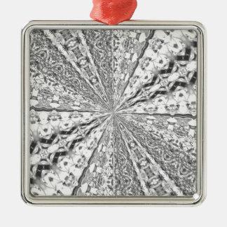 Remolino de la hoja de plata adorno cuadrado plateado