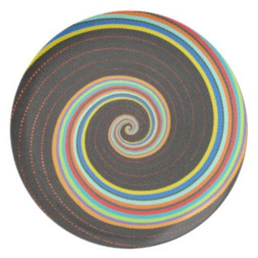Remolino de la placa decorativa del color platos para fiestas