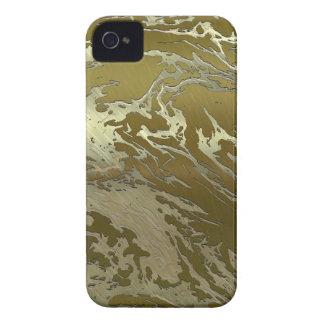 remolino de oro del arte del metal iPhone 4 Case-Mate carcasas