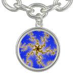 Remolino de oro en azul - diseño del fractal pulseras con dijer