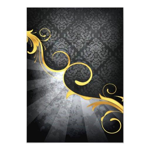 """remolino de oro en diseño con clase del damasco de invitación 5"""" x 7"""""""