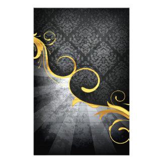 remolino de oro en diseño con clase del damasco de papeleria personalizada