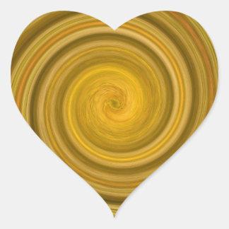 Remolino de oro pegatina en forma de corazón