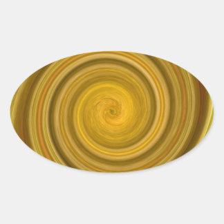 Remolino de oro pegatina ovalada