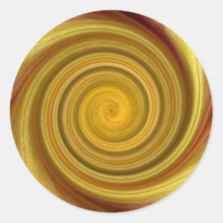 Remolino de oro pegatina redonda