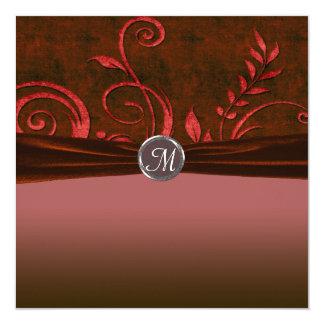"""Remolino de rubíes y rojo del boda del terciopelo invitación 5.25"""" x 5.25"""""""
