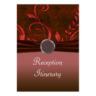 Remolino de rubíes y rojo del boda del terciopelo tarjetas de visita