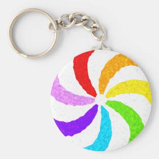 Remolino del arco iris llavero redondo tipo pin