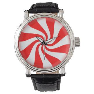Remolino del caramelo de hierbabuena relojes de pulsera