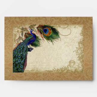 Remolino del damasco de la mirada del pavo real y