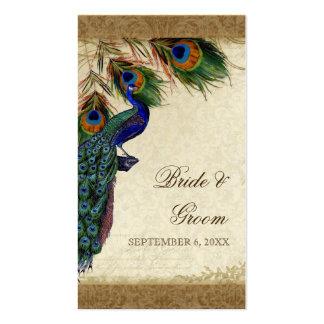 Remolino del damasco de la mirada del pavo real y tarjeta de visita