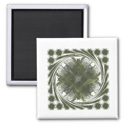 Remolino del fractal del trébol de cuatro hojas imán cuadrado