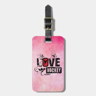 Remolino del hockey del amor etiquetas maleta