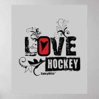 Remolino del hockey del amor póster