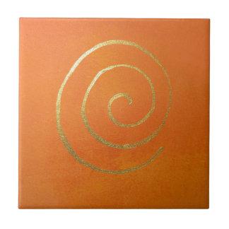 Remolino del oro en arte moderno espiral de oro azulejo cuadrado pequeño
