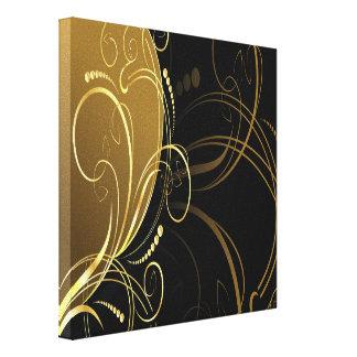 remolino del oro, floral, negro, elegante, impresiones en lona