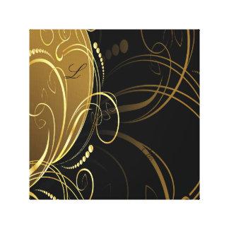 remolino del oro, floral, negro, elegante, lona envuelta para galerias