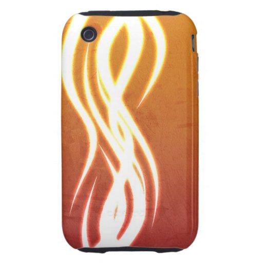 Remolino del rojo anaranjado tough iPhone 3 fundas