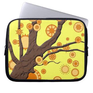 Remolino del vector del árbol en fondo amarillo manga portátil