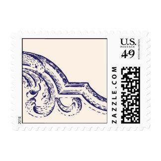 Remolino del vintage de los azules marinos sellos postales