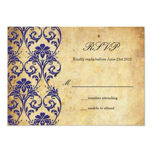 Remolino del vintage del azul real que casa RSVP Invitacion Personalizada