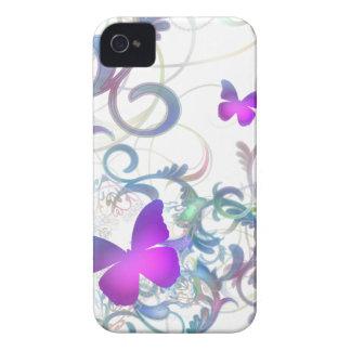 Remolino elegante de la mariposa Case-Mate iPhone 4 cárcasas