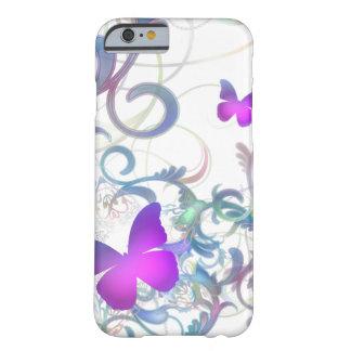 Remolino elegante de la mariposa funda para iPhone 6 barely there