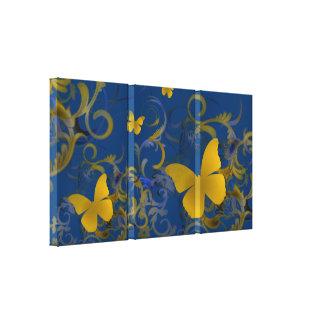 Remolino elegante de la mariposa (oro y azul) impresiones en lona estiradas