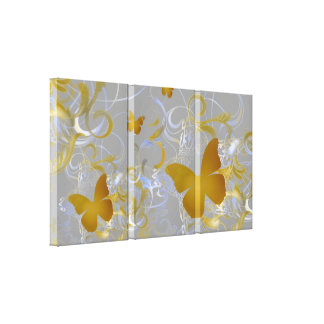 Remolino elegante de la mariposa (plata y oro) impresiones de lienzo