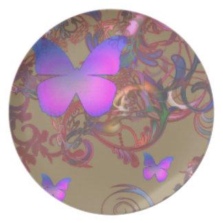 Remolino elegante de la mariposa platos