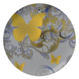 Remolino elegante de la mariposa plato de cena