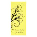 Remolino elegante floral blanco del amarillo del p tarjetas publicitarias a todo color