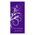 Remolino elegante floral blanco púrpura del progra tarjetas publicitarias personalizadas