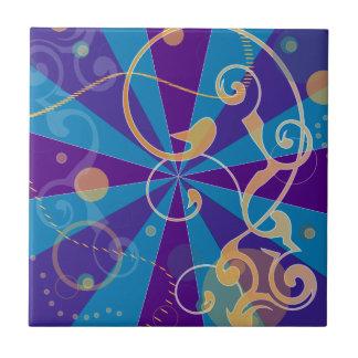 Remolino enrrollado abstracto retro azulejo cuadrado pequeño