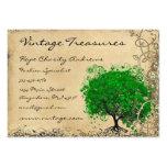 Remolino esmeralda del árbol de la hoja del tarjetas de visita grandes